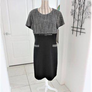 Tahari Short Sleeve Sheath Dress Pockets